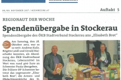 Spende Elisabethbrot Bezirksblätter 9. November 2017
