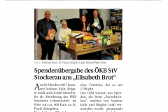 Spende Elisabethbrot Stadtzeitung Dezember 2017